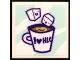 Part No: 3068bpb1530  Name: Tile 2 x 2 with Groove with Cup of Hot Chocolate with 'I Heart HLC' and Marshmallows Pattern (Sticker) - Set 41336