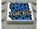 Part No: 3068bpx22  Name: Tile 2 x 2 with Groove with Yellow 'TURBO', Black Spots, Blue Background Pattern