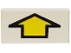 Part No: 3069bp13  Name: Tile 1 x 2 with Groove with Arrow Short Yellow with Black Border Pattern