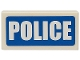 Part No: 3069bpb0111  Name: Tile 1 x 2 with Groove with White 'POLICE' Thick Font on Blue Background Pattern (Sticker) - Sets 7235-2 / 7236-2 / 7744 / 60023