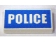 Part No: 3069bpb0139  Name: Tile 1 x 2 with Groove with White 'POLICE' on Blue Background Pattern (Printed)