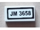 Part No: 3069bpb0161  Name: Tile 1 x 2 with Groove with 'JM 3658' Pattern (Sticker) - Set 3658