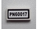 Part No: 3069bpb0269  Name: Tile 1 x 2 with Groove with 'PN60017' Pattern (Sticker) - Set 60017
