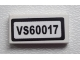 Part No: 3069bpb0270  Name: Tile 1 x 2 with Groove with 'VS60017' Pattern (Sticker) - Set 60017