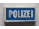 Part No: 3069bpb0447  Name: Tile 1 x 2 with Groove with White 'POLIZEI' on Blue Background Pattern (Sticker) - Sets 7235-2 / 7236-2 / 7744