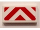 Part No: 3069bpb0496  Name: Tile 1 x 2 with Groove with Red and White Danger Stripes (Red Corners) Pattern (Sticker) - Set 60101