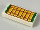 Part No: 3069bpb0702  Name: Tile 1 x 2 with Groove with 7 Bright Light Orange Springs Rolls with Green Garnish Pattern
