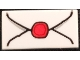 Part No: 3069bpb0779  Name: Tile 1 x 2 with Groove with Envelope with Red Wax Seal and Gray Highlights Pattern