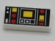 Part No: 3069bpb0785  Name: Tile 1 x 2 with Groove with Red and Yellow Controls and Two White Squares on Left Pattern