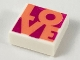 Part No: 3070bpb147  Name: Tile 1 x 1 with Groove with Coral 'LOVE' on Magenta Background Pattern