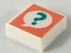 Part No: 3070bpb156  Name: Tile 1 x 1 with Groove with Dark Turquoise Question Mark in Speech Bubble on Coral Background Pattern