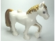 Part No: 3426pb02  Name: Duplo Horse with one Stud and Raised Hoof with Gold Mane and Tail Pattern