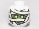 Part No: 3626bpb0504  Name: Minifigure, Head Alien with Mummy Green Face Pattern - Blocked Open Stud