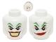 Part No: 3626bpb0638  Name: Minifigure, Head Dual Sided Green Eyebrows, Red Lips, Wide Smile / Smirk Pattern (The Joker) - Blocked Open Stud
