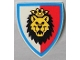 Part No: 3846p4d  Name: Minifigure, Shield Triangular with Lion Head, Red and White Background Pattern