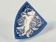 Part No: 3846pb044  Name: Minifigure, Shield Triangular with Medium Blue Border, White Rearing Unicorn, Metallic Light Blue Filigree Pattern