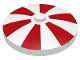 Part No: 3960pb003  Name: Dish 4 x 4 Inverted (Radar) with Solid Stud with Red Stripes Pattern