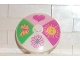 Part No: 3960pb007  Name: Dish 4 x 4 Inverted (Radar) with Solid Stud with 4 section Heart, Sun, Flower, Butterfly Pattern