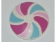 Part No: 3960pb028  Name: Dish 4 x 4 Inverted (Radar) with Solid Stud with Stripes Bright Pink/Magenta/Medium Azure Pattern