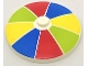 Part No: 3960pb043  Name: Dish 4 x 4 Inverted (Radar) with Solid Stud with Stripes Red/Blue/Yellow/Lime Pattern