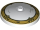 Part No: 3960pb065  Name: Dish 4 x 4 Inverted (Radar) with Solid Stud with Light Bluish Gray Scratches and Metallic Gold Decorative Border Pattern