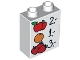 Part No: 4066pb387  Name: Duplo, Brick 1 x 2 x 2 with Apples, Orange, and Strawberries Prices Pattern