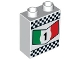 Part No: 4066pb396  Name: Duplo, Brick 1 x 2 x 2 with '1' in Green, White and Red Chevron and Checkered Border Pattern
