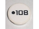 Part No: 4150pb070  Name: Tile, Round 2 x 2 with Black Dot and '108' Pattern (Sticker) - Set 8211