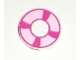 Part No: 4150pb106  Name: Tile, Round 2 x 2 with Magenta and Bright Pink Life Preserver, Curved Bands Pattern