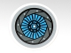 Part No: 4150pb128  Name: Tile, Round 2 x 2 with Medium Azure and Gray Aperture Pattern (Sticker) - Set 70003