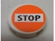 Part No: 4150pb154  Name: Tile, Round 2 x 2 with 'STOP' on White and Orange Background Pattern (Sticker) - Set 8969