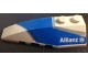 Part No: 41748pb060  Name: Wedge 6 x 2 Left with Blue and Silver Wraparound Pattern, with Allianz Logo Pattern (Sticker) - Set 8374