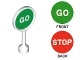 Part No: 41759pb02  Name: Duplo Utensil Round Sign with Handle with 'GO' and 'STOP' Pattern