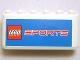 Part No: 4176pb22  Name: Windscreen 2 x 6 x 2 with LEGO Sports Logo on Blue Background Pattern (Sticker) - Set 3420-4