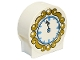 Part No: 41970pb12  Name: Duplo, Brick 1 x 3 x 2 Round Top with Clock and Gold Frame Pattern