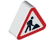 Part No: 42025pb03  Name: Duplo, Brick 1 x 3 x 2 Triangle Road Sign with Construction Worker Pattern