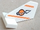 Part No: 44661pb025  Name: Tail Shuttle, Small with Modified Classic Space Logo and Two Orange Lines Pattern on Both Sides (Stickers) - Set 7645