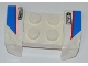 Part No: 44674pb18  Name: Vehicle, Mudguard 2 x 4 with Headlights Overhang with 'NUTY REZ' and Red Line on Blue and White Pattern on Both Sides (Stickers) - Set 8125