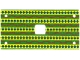 Part No: 45644px1  Name: Cloth Rectangle 6 x 12 with 2 x 2 Cutout, Holes at Corners, Green / Yellow / Red Elephant Saddle Pattern