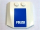 Part No: 45677pb010  Name: Wedge 4 x 4 x 2/3 Triple Curved with 'POLIZEI' White on Blue Pattern (Sticker) - Set 7741
