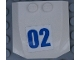 Part No: 45677pb122  Name: Wedge 4 x 4 x 2/3 Triple Curved with Blue Number 02 on White Background Pattern (Sticker) - Set 60138