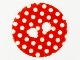 Part No: 50689pb01  Name: Minifigure, Skirt Cloth Round with White Polka Dots on Red Background Pattern