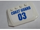 Part No: 52031pb143  Name: Wedge 4 x 6 x 2/3 Triple Curved with Blue 'COAST GUARD' and '03' on White Background Pattern (Sticker) - Set 60165
