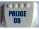 Part No: 52031pb157  Name: Wedge 4 x 6 x 2/3 Triple Curved with Blue 'POLICE' and '05' on White Background Pattern (Sticker) - Set 60140