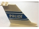 Part No: 54094pb03  Name: Tail 14 x 2 x 8 with Blue 'POLICE' and Stripes Pattern on Both Sides (Stickers) - Set 7723