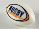 Part No: 57753pb01  Name: Sports Football / Rugby Ball with Dark Blue and Orange 'RUGBY SUPREME' Pattern