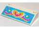 Part No: 58181pb08  Name: Slope 33 3 x 6 without Inner Walls with Dark Pink and Yellow Heart and Stars and Waves on Medium Azure Background Pattern (Sticker) - Set 41015