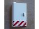 Part No: 58381pb09  Name: Door 1 x 3 x 4 Left - Open Between Top and Bottom Hinge with Red Danger Stripes Pattern (Sticker) - Set 60023