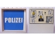 Part No: 59349pb075  Name: Panel 1 x 6 x 5 with White 'POLIZEI' on Blue Background Inside and Bulletin Board on Outside Pattern (Stickers) - Set 7744