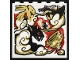 Part No: 59349pb241  Name: Panel 1 x 6 x 5 with Black, Gold, Red and White Dragon, Ninja Minifigure, Cloud and Tornado Pattern (Sticker) - Set 70670